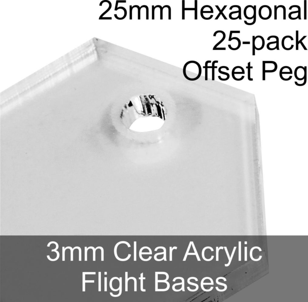 Flight Bases, Hexagonal, 25mm (Offset Peg), 3mm Clear (25) - LITKO Game Accessories