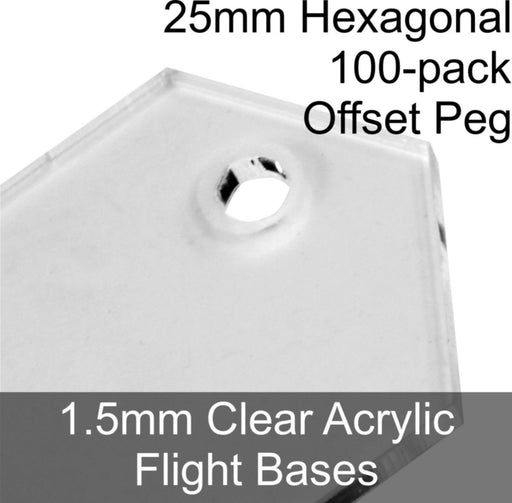 Flight Bases, Hexagonal, 25mm (Offset Peg), 1.5mm Clear (100) - LITKO Game Accessories