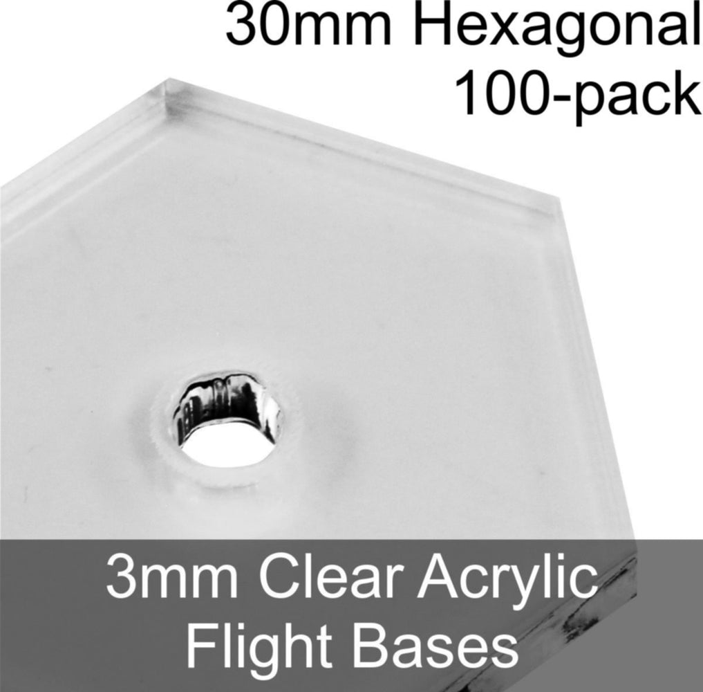 Flight Bases, Hexagonal, 30mm, 3mm Clear (100) - LITKO Game Accessories