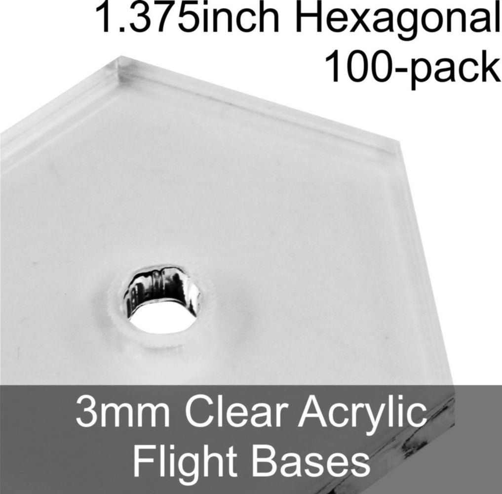 Flight Bases, Hexagonal, 1.375inch, 3mm Clear (100) - LITKO Game Accessories