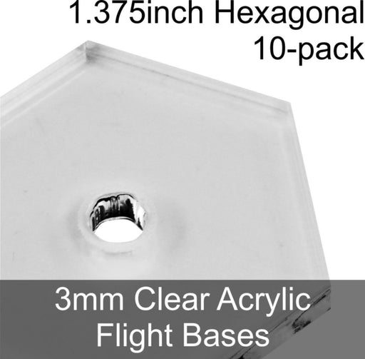 Flight Bases, Hexagonal, 1.375inch, 3mm Clear (10) - LITKO Game Accessories