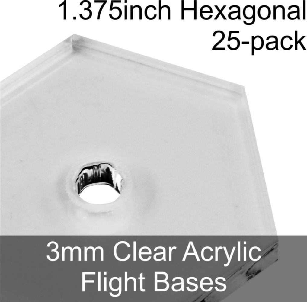 Flight Bases, Hexagonal, 1.375inch, 3mm Clear (25) - LITKO Game Accessories