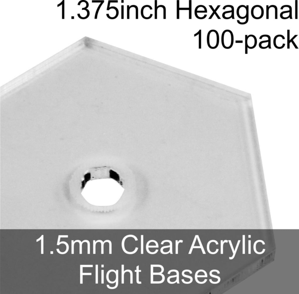 Flight Bases, Hexagonal, 1.375inch, 1.5mm Clear (100) - LITKO Game Accessories