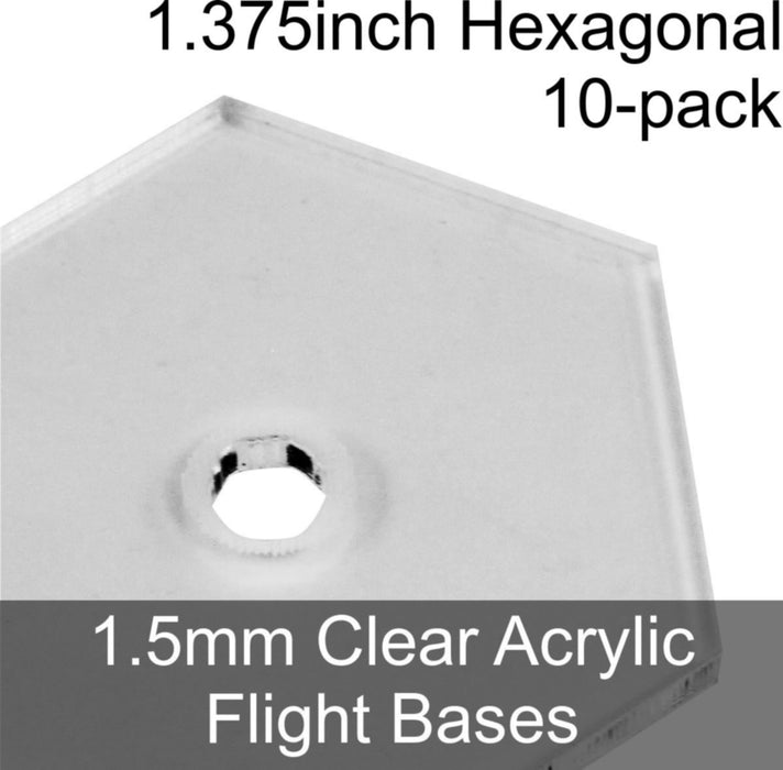 Flight Bases, Hexagonal, 1.375inch, 1.5mm Clear (10) - LITKO Game Accessories