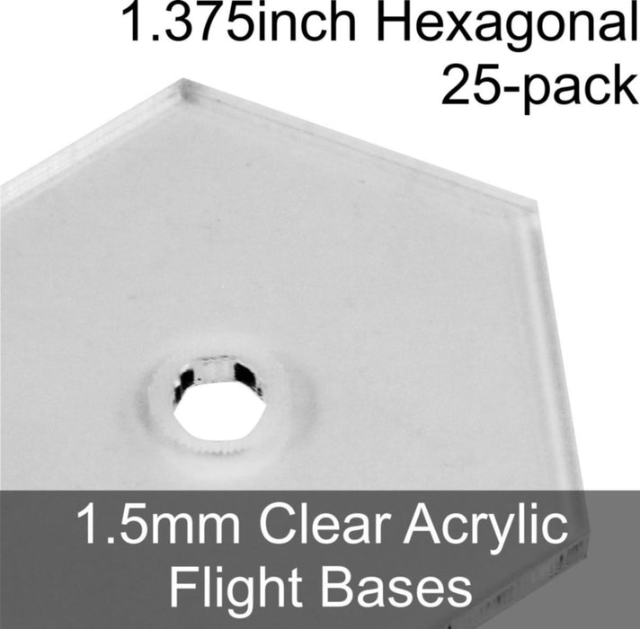 Flight Bases, Hexagonal, 1.375inch, 1.5mm Clear (25) - LITKO Game Accessories