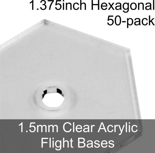 Flight Bases, Hexagonal, 1.375inch, 1.5mm Clear (50) - LITKO Game Accessories