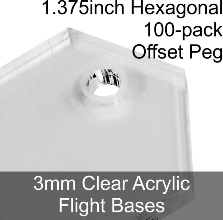Flight Bases, Hexagonal, 1.375inch (Offset Peg), 3mm Clear (100) - LITKO Game Accessories