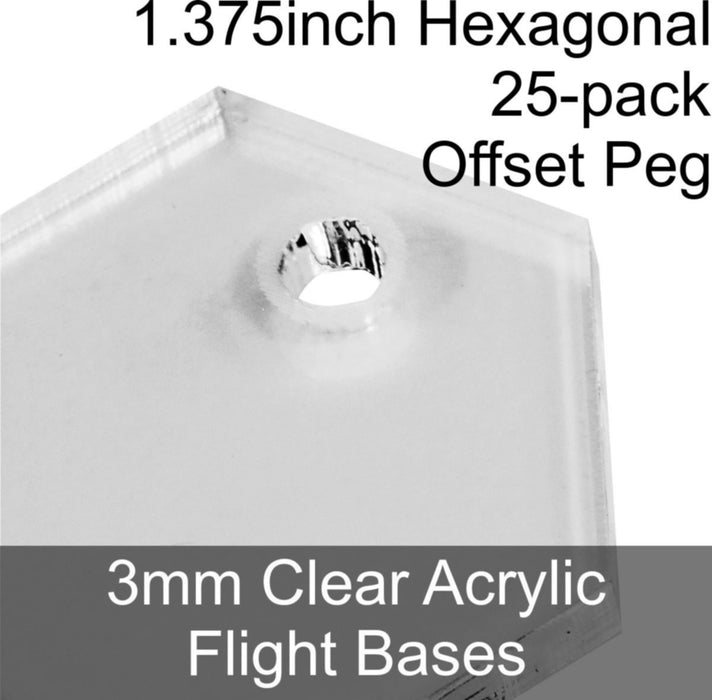 Flight Bases, Hexagonal, 1.375inch (Offset Peg), 3mm Clear (25) - LITKO Game Accessories
