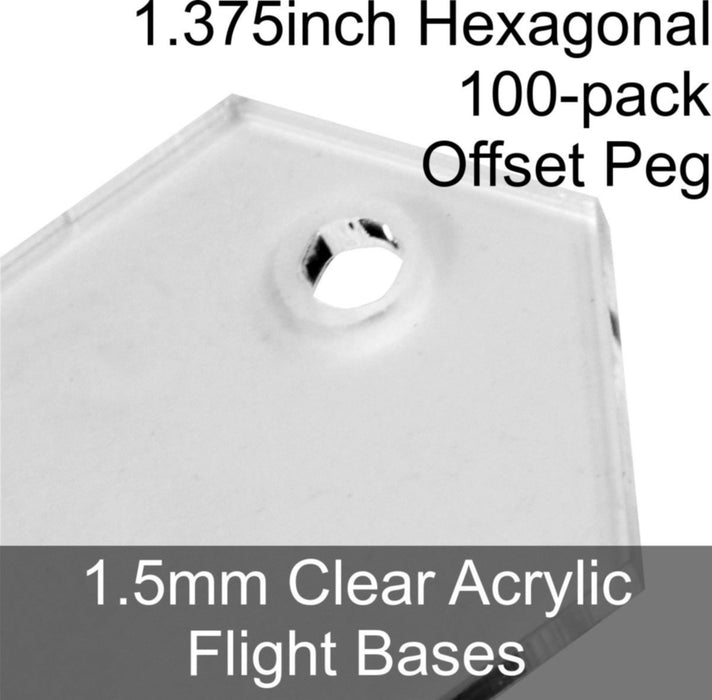 Flight Bases, Hexagonal, 1.375inch (Offset Peg), 1.5mm Clear (100) - LITKO Game Accessories