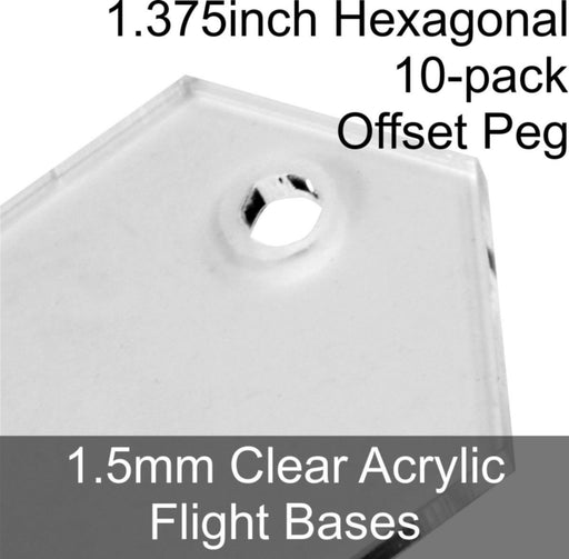 Flight Bases, Hexagonal, 1.375inch (Offset Peg), 1.5mm Clear (10) - LITKO Game Accessories