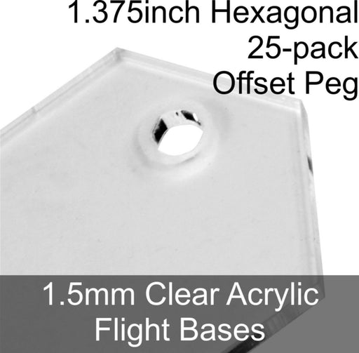 Flight Bases, Hexagonal, 1.375inch (Offset Peg), 1.5mm Clear (25) - LITKO Game Accessories