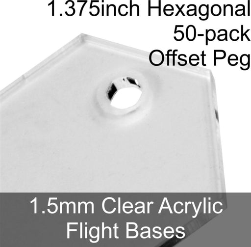 Flight Bases, Hexagonal, 1.375inch (Offset Peg), 1.5mm Clear (50) - LITKO Game Accessories