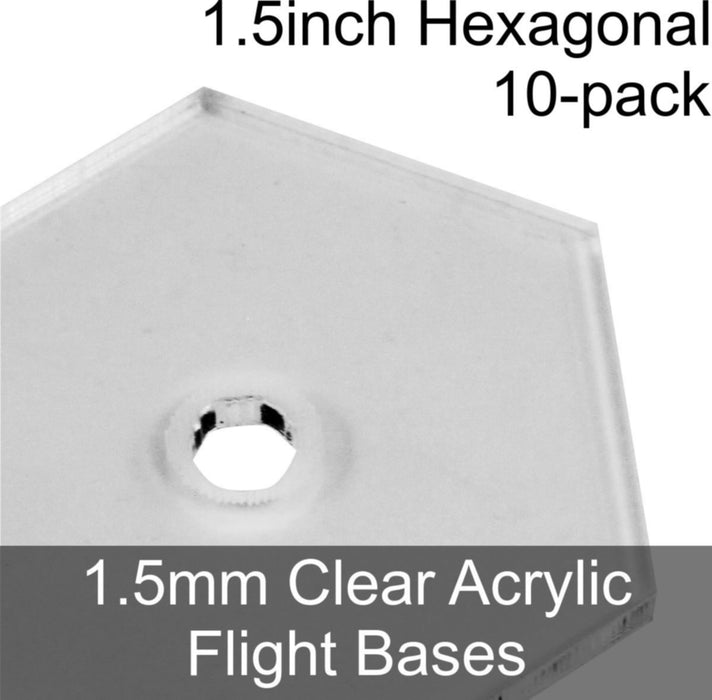 Flight Bases, Hexagonal, 1.5inch, 1.5mm Clear (10) - LITKO Game Accessories