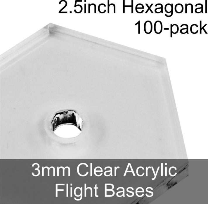 Flight Bases, Hexagonal, 2.5inch, 3mm Clear (100) - LITKO Game Accessories
