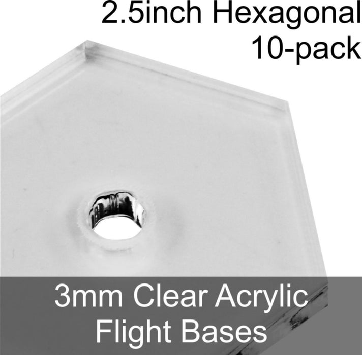 Flight Bases, Hexagonal, 2.5inch, 3mm Clear (10) - LITKO Game Accessories