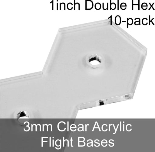 Flight Bases, Double Hex, 1inch, 3mm Clear (10) - LITKO Game Accessories