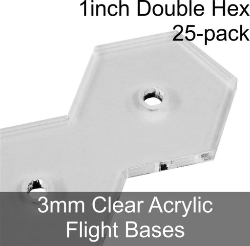 Flight Bases, Double Hex, 1inch, 3mm Clear (25) - LITKO Game Accessories