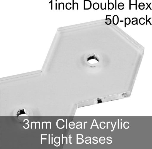 Flight Bases, Double Hex, 1inch, 3mm Clear (50) - LITKO Game Accessories