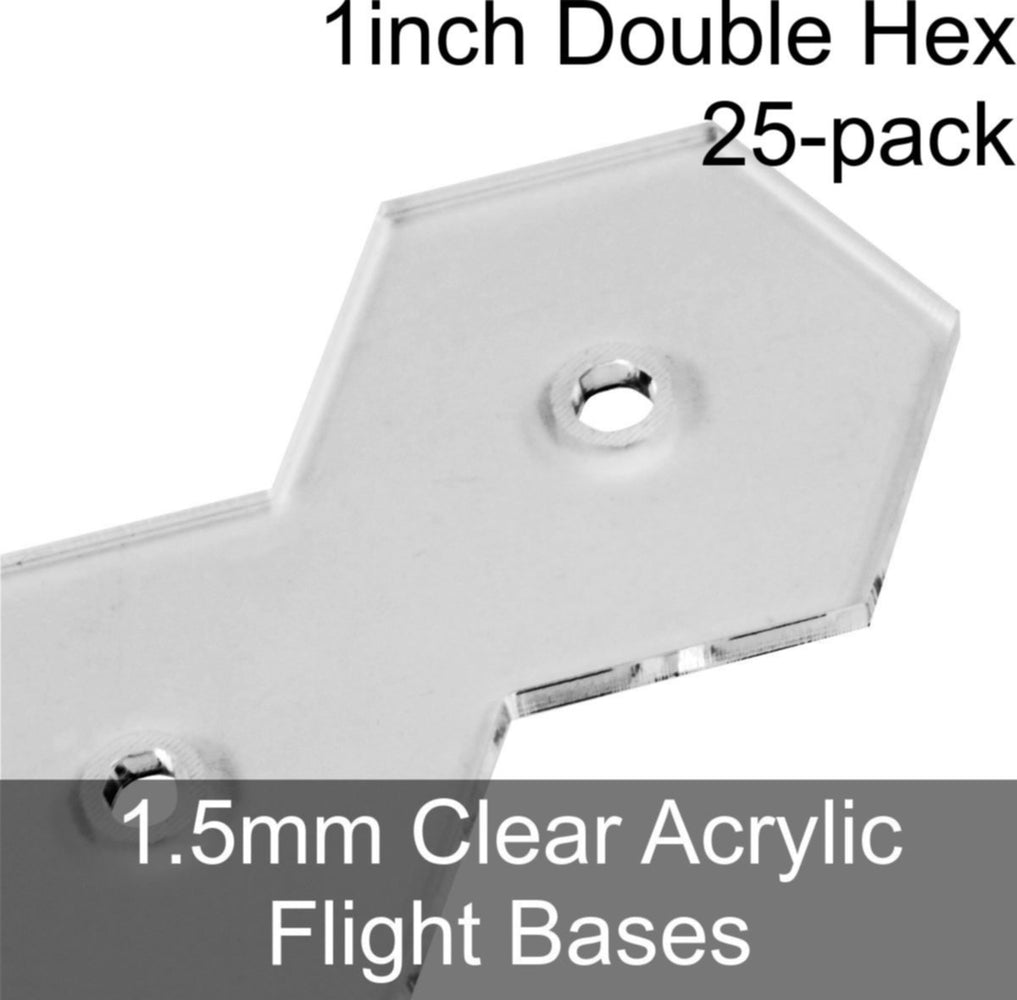 Flight Bases, Double Hex, 1inch, 1.5mm Clear (25) - LITKO Game Accessories