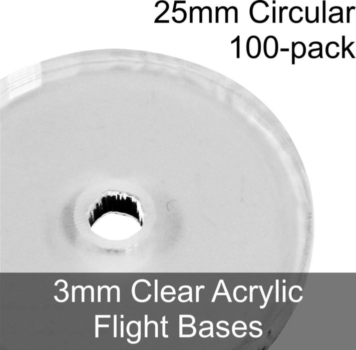 Flight Bases, Circular, 25mm, 3mm Clear (100) - LITKO Game Accessories