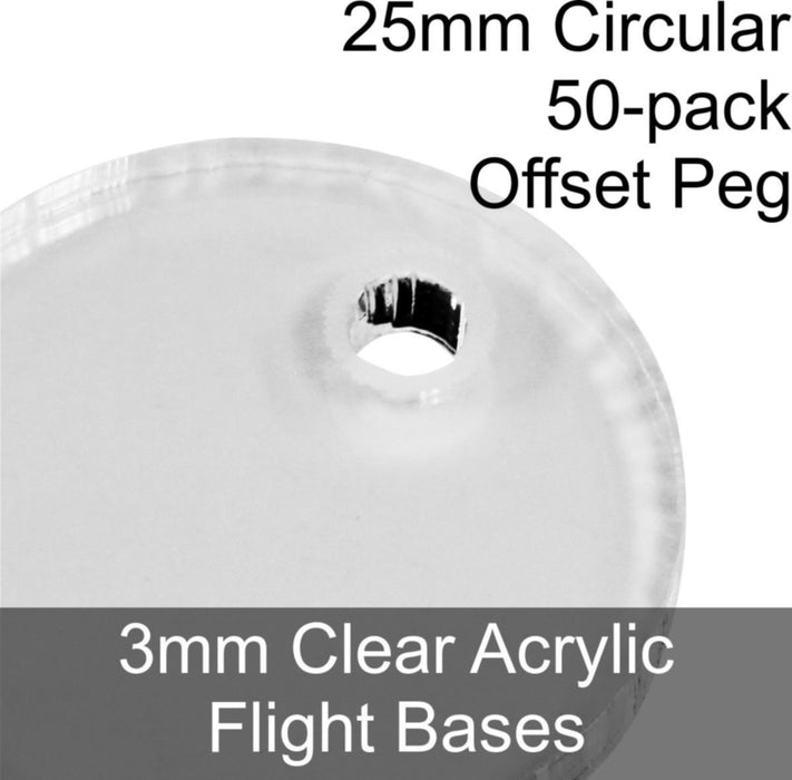 Flight Bases, Circular, 25mm (Offset Peg), 3mm Clear (50) - LITKO Game Accessories