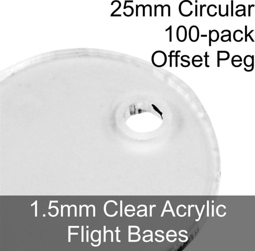 Flight Bases, Circular, 25mm (Offset Peg), 1.5mm Clear (100) - LITKO Game Accessories