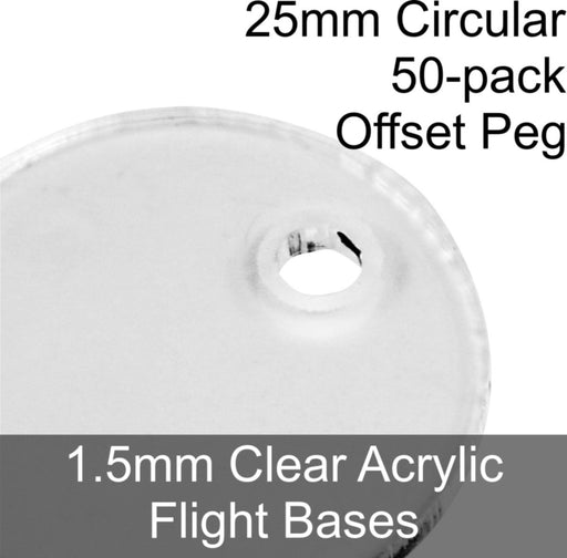 Flight Bases, Circular, 25mm (Offset Peg), 1.5mm Clear (50) - LITKO Game Accessories