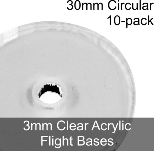 Flight Bases, Circular, 30mm, 3mm Clear (10) - LITKO Game Accessories