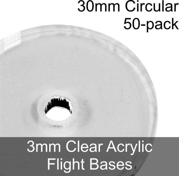 Flight Bases, Circular, 30mm, 3mm Clear (50) - LITKO Game Accessories