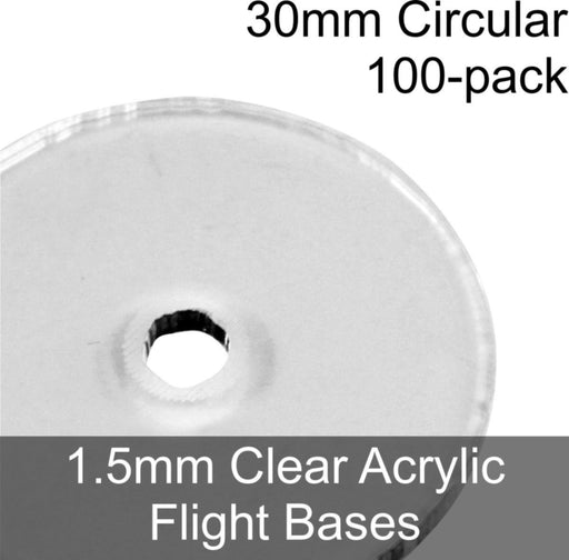 Flight Bases, Circular, 30mm, 1.5mm Clear (100) - LITKO Game Accessories