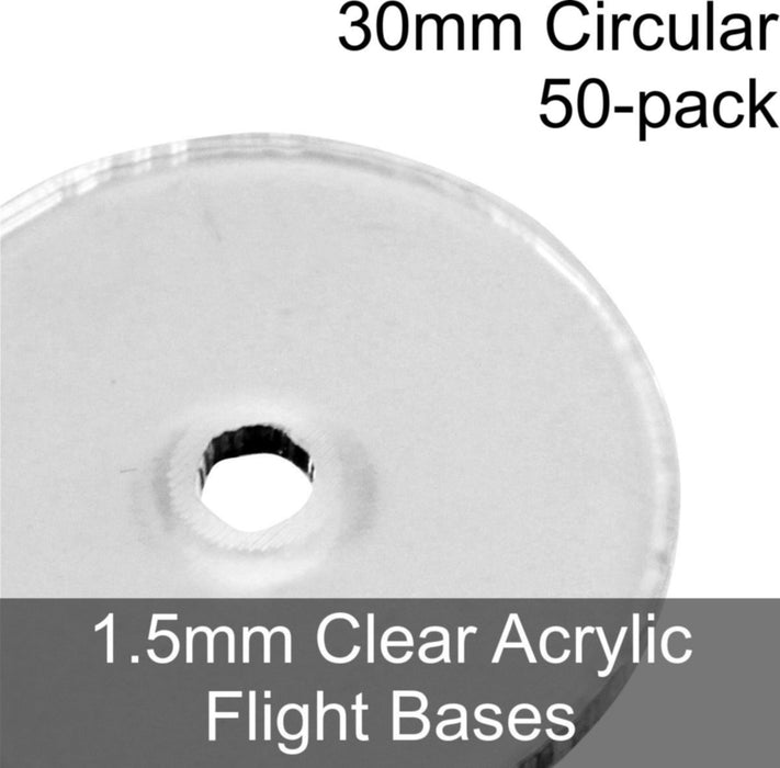 Flight Bases, Circular, 30mm, 1.5mm Clear (50) - LITKO Game Accessories
