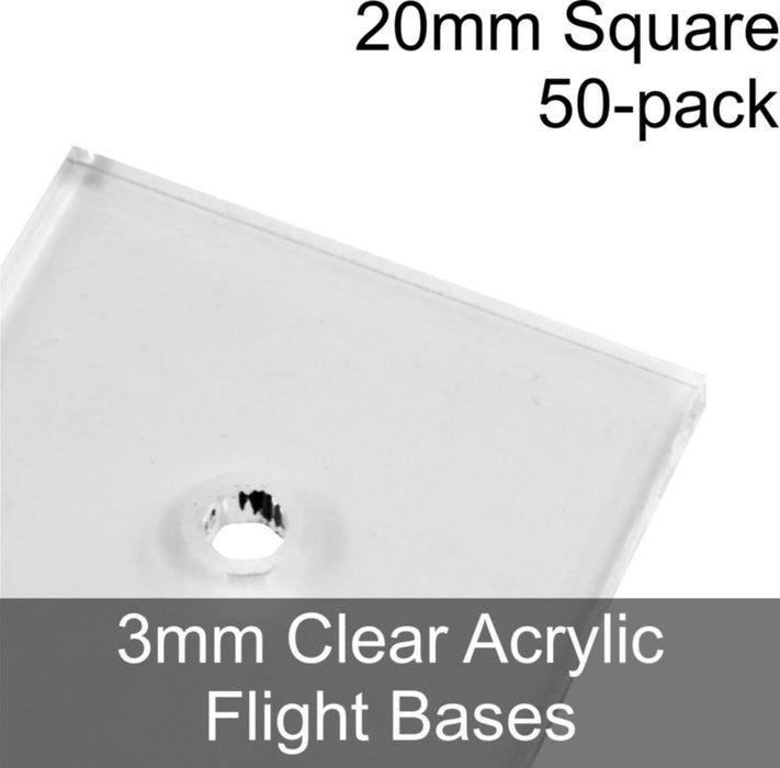 Flight Bases, Square, 20mm, 3mm Clear (50) - LITKO Game Accessories