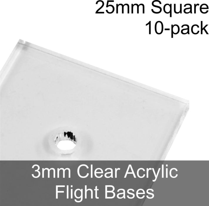 Flight Bases, Square, 25mm, 3mm Clear (10) - LITKO Game Accessories