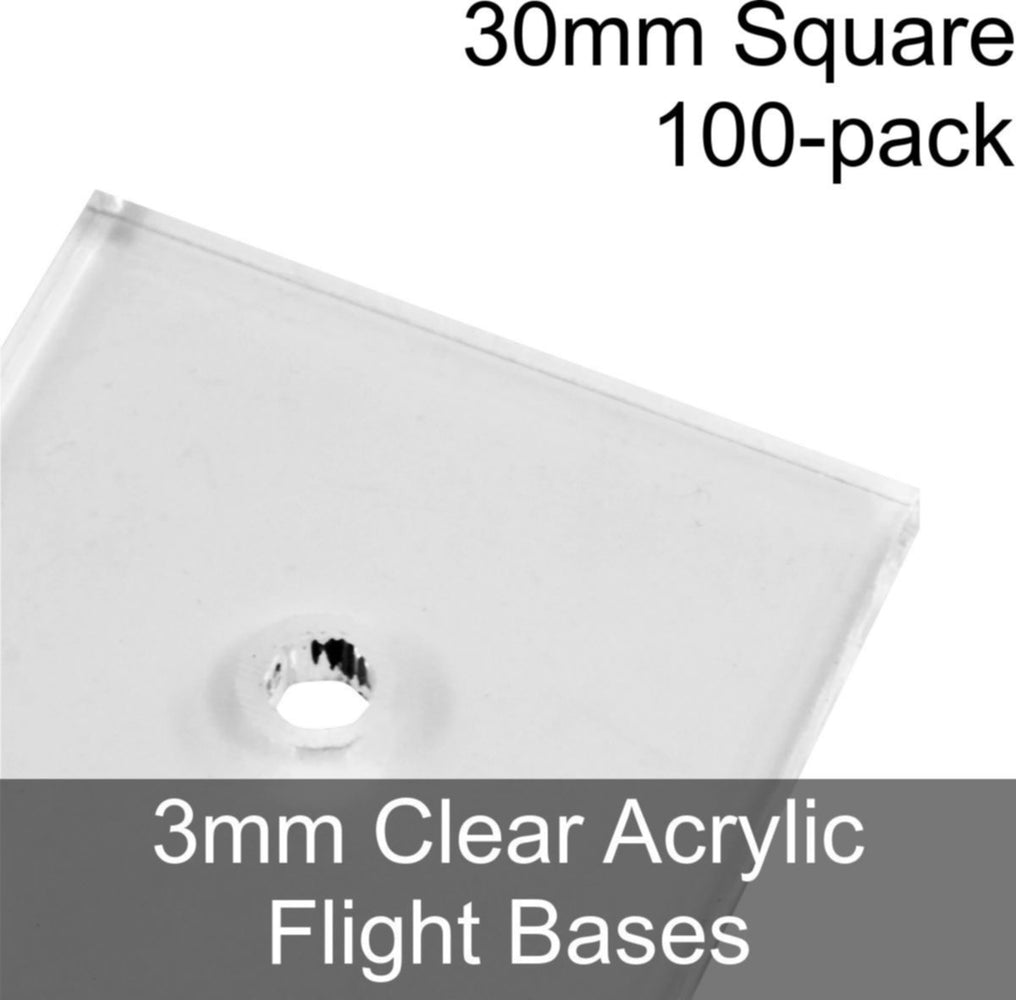 Flight Bases, Square, 30mm, 3mm Clear (100) - LITKO Game Accessories