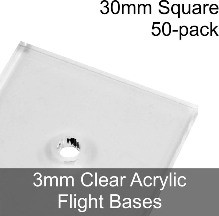 Flight Bases, Square, 30mm, 3mm Clear (50) - LITKO Game Accessories