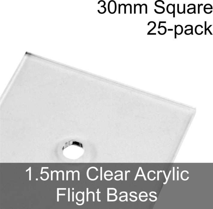 Flight Bases, Square, 30mm, 1.5mm Clear (25) - LITKO Game Accessories