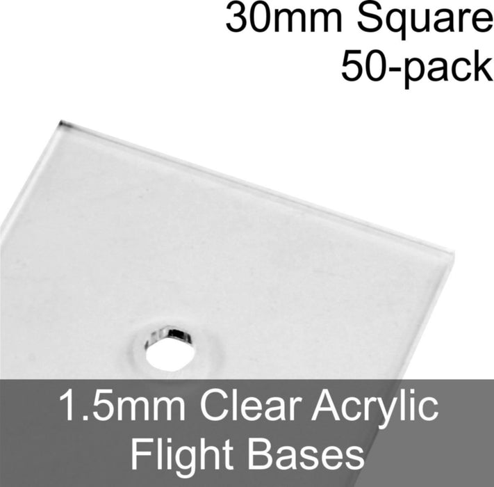 Flight Bases, Square, 30mm, 1.5mm Clear (50) - LITKO Game Accessories