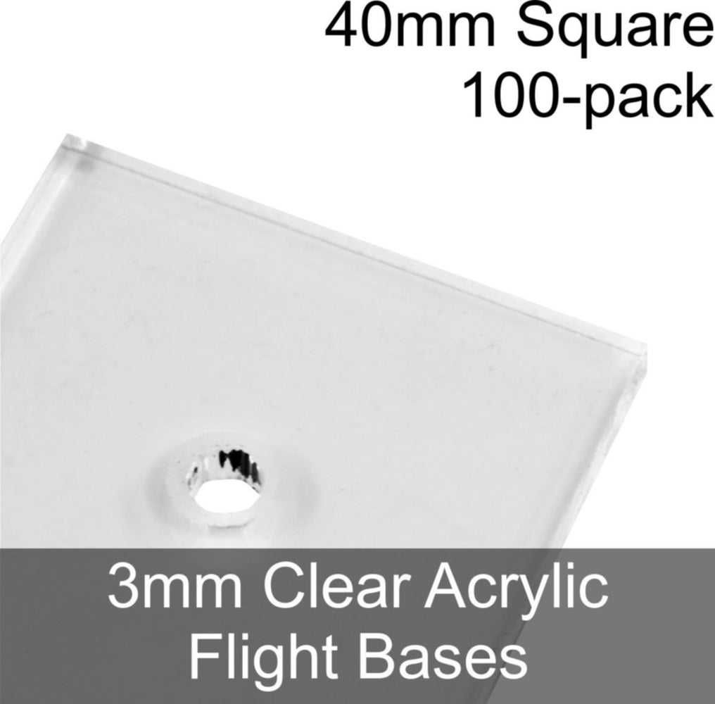 Flight Bases, Square, 40mm, 3mm Clear (100) - LITKO Game Accessories
