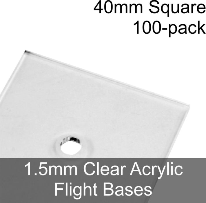 Flight Bases, Square, 40mm, 1.5mm Clear (100) - LITKO Game Accessories