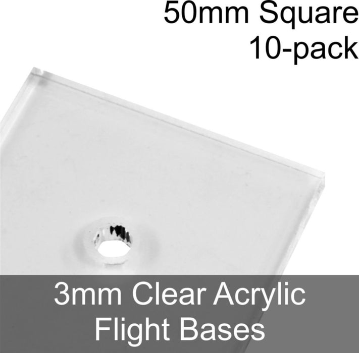 Flight Bases, Square, 50mm, 3mm Clear (10) - LITKO Game Accessories