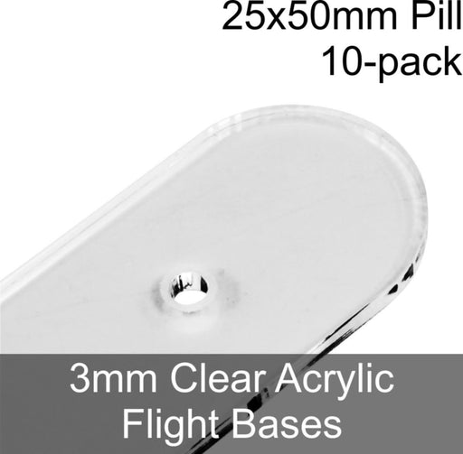 Flight Bases, Pill, 25x50mm, 3mm Clear (10) - LITKO Game Accessories