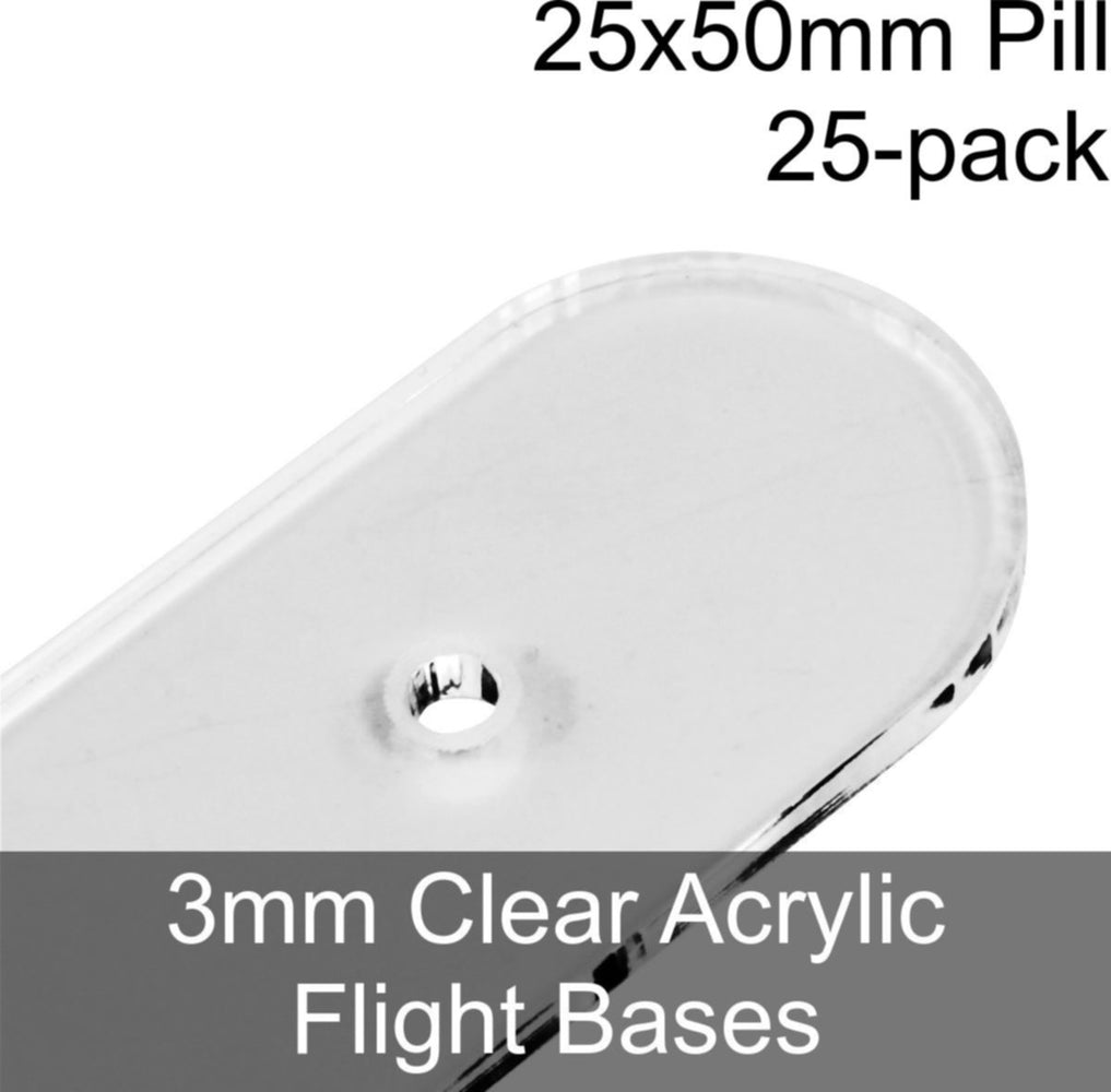 Flight Bases, Pill, 25x50mm, 3mm Clear (25) - LITKO Game Accessories