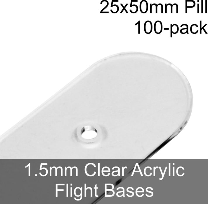 Flight Bases, Pill, 25x50mm, 1.5mm Clear (100) - LITKO Game Accessories