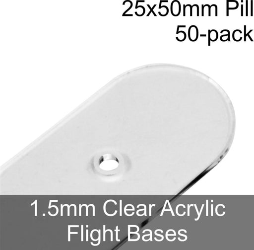 Flight Bases, Pill, 25x50mm, 1.5mm Clear (50) - LITKO Game Accessories