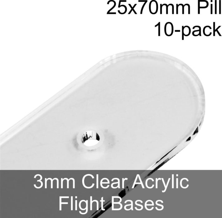Flight Bases, Pill, 25x70mm, 3mm Clear (10) - LITKO Game Accessories
