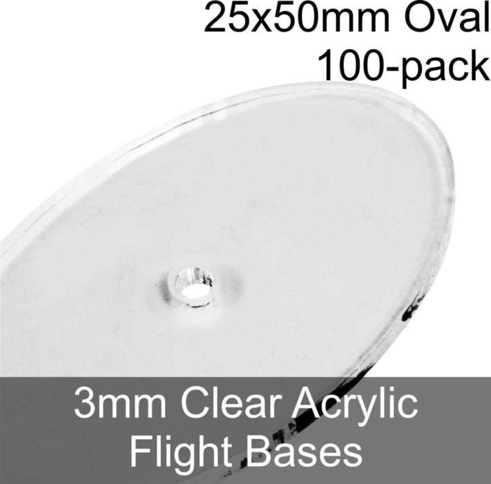 Flight Bases, Oval, 25x50mm, 3mm Clear (100) - LITKO Game Accessories