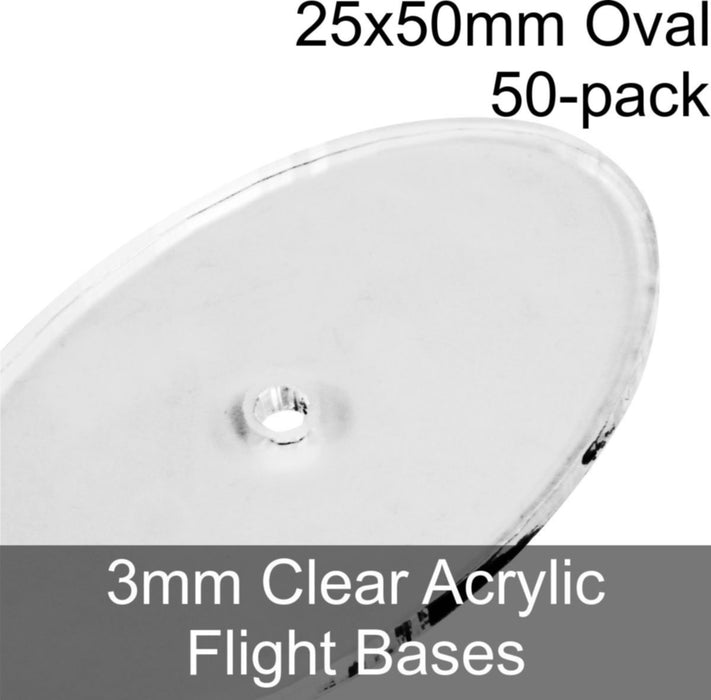 Flight Bases, Oval, 25x50mm, 3mm Clear (50) - LITKO Game Accessories