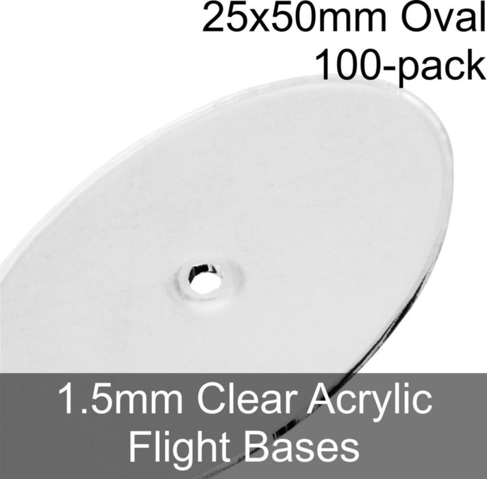 Flight Bases, Oval, 25x50mm, 1.5mm Clear (100) - LITKO Game Accessories