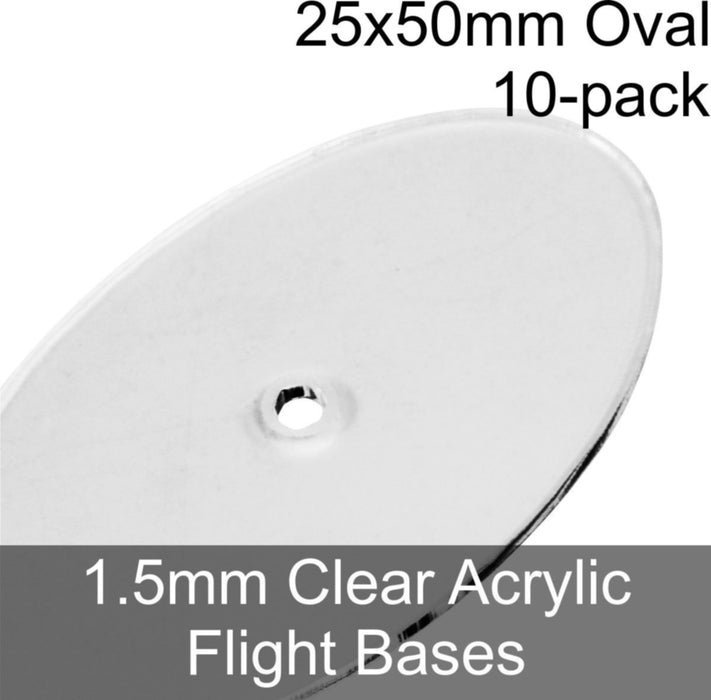 Flight Bases, Oval, 25x50mm, 1.5mm Clear (10) - LITKO Game Accessories