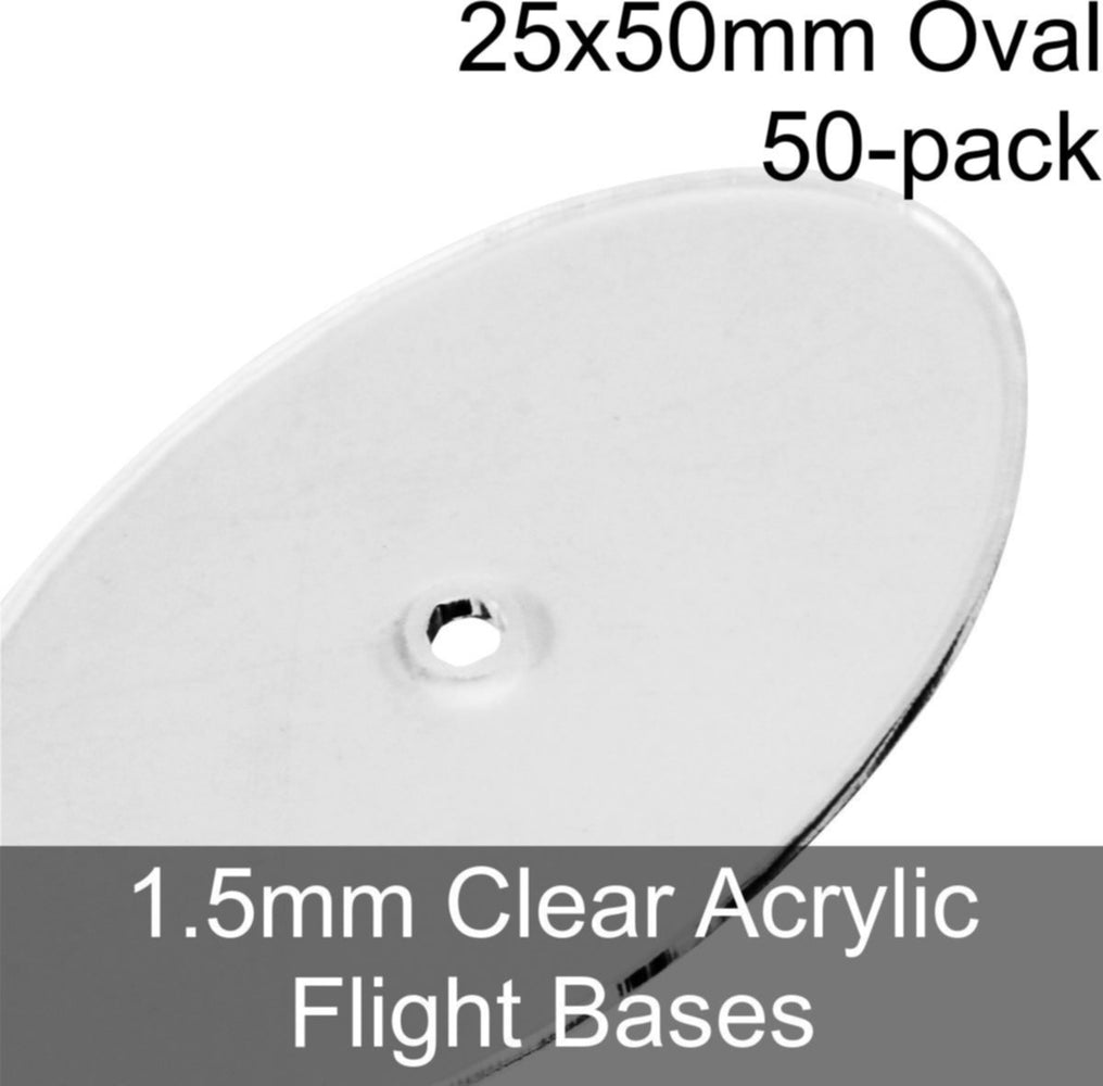 Flight Bases, Oval, 25x50mm, 1.5mm Clear (50) - LITKO Game Accessories